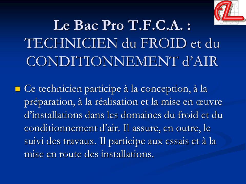 Le Bac Pro T.F.C.A. : TECHNICIEN du FROID et du CONDITIONNEMENT d'AIR