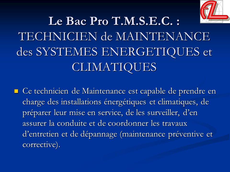 Le Bac Pro T.M.S.E.C. : TECHNICIEN de MAINTENANCE des SYSTEMES ENERGETIQUES et CLIMATIQUES