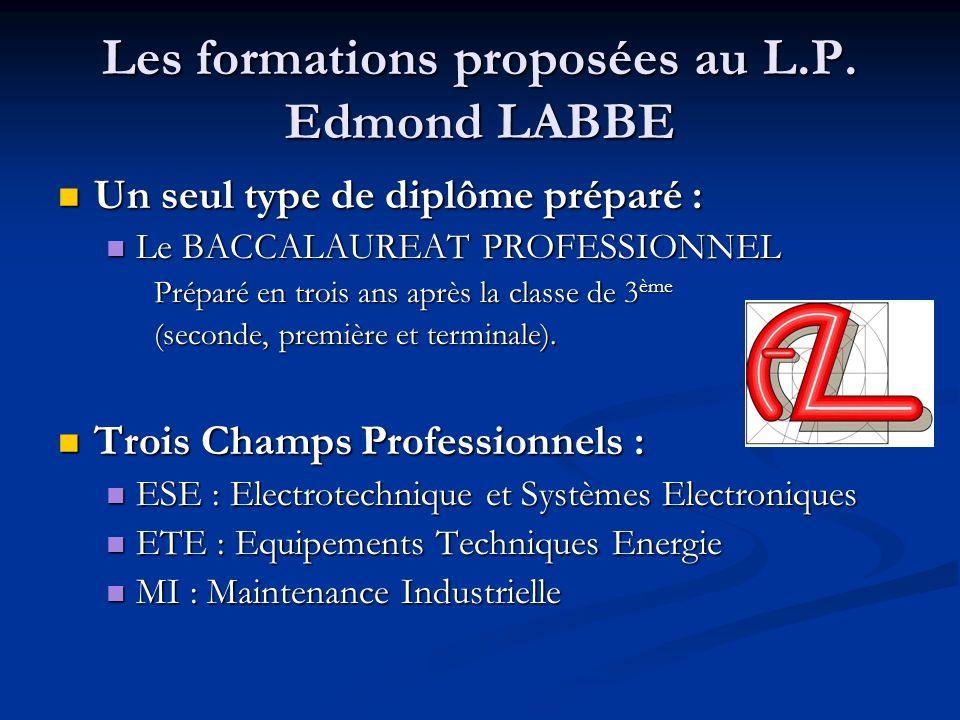 Les formations proposées au L.P. Edmond LABBE