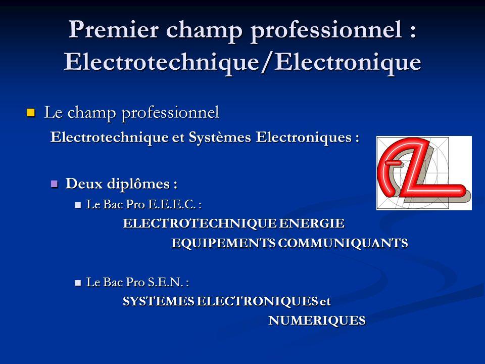 Premier champ professionnel : Electrotechnique/Electronique