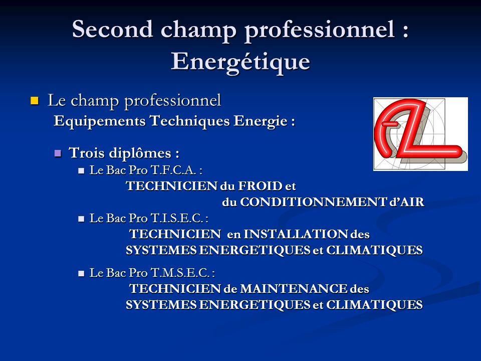 Second champ professionnel : Energétique