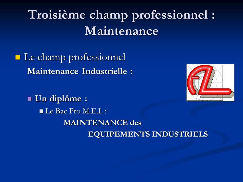 Troisième champ professionnel : Maintenance