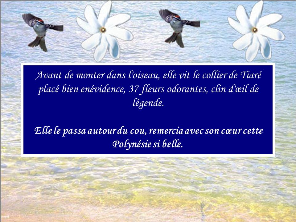 Avant de monter dans l oiseau, elle vit le collier de Tiaré placé bien enévidence, 37 fleurs odorantes, clin d œil de légende.