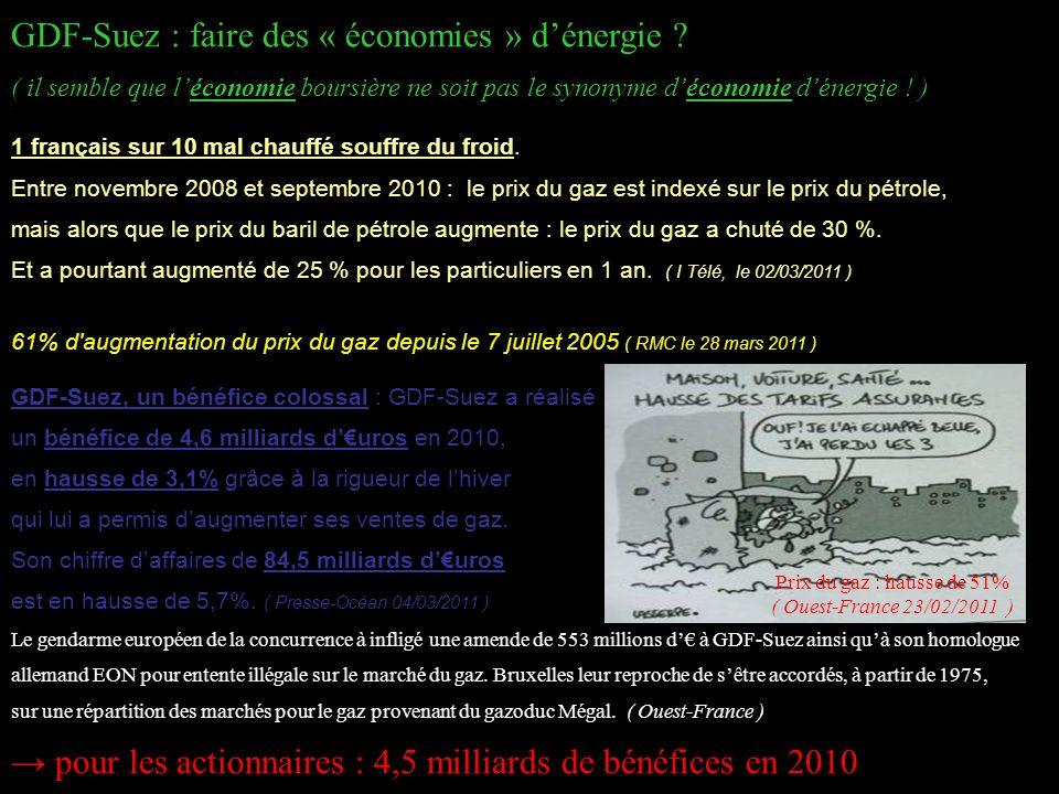 Prix du gaz : hausse de 51% ( Ouest-France 23/02/2011 )