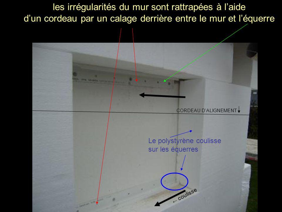 les irrégularités du mur sont rattrapées à l'aide d'un cordeau par un calage derrière entre le mur et l'équerre