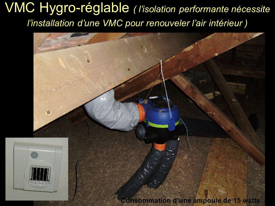VMC Hygro-réglable ( l'isolation performante nécessite l'installation d'une VMC pour renouveler l'air intérieur )