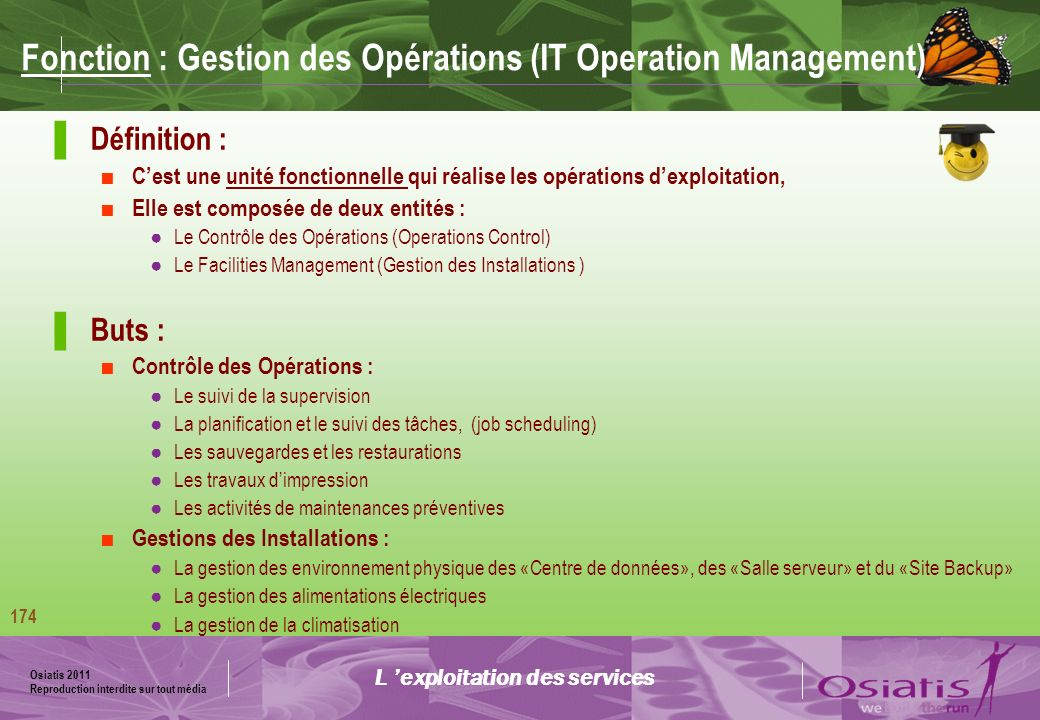 Fonction : Gestion des Opérations (IT Operation Management)