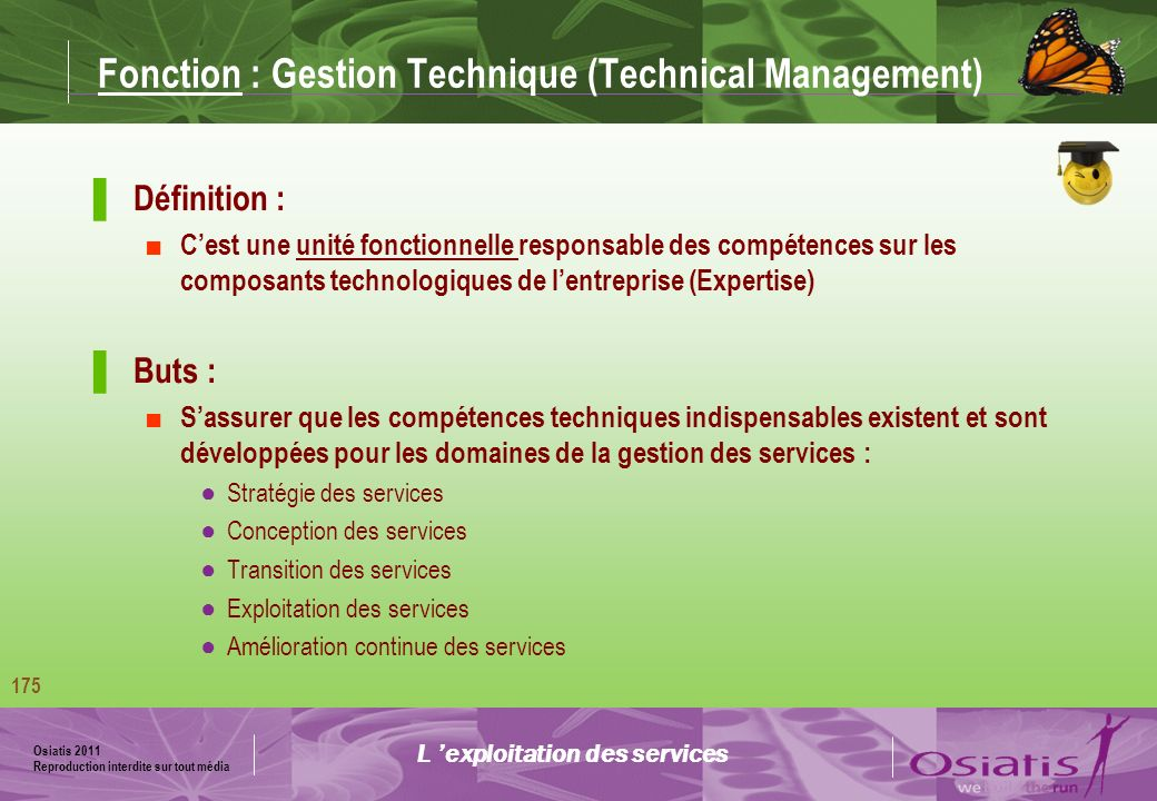 Fonction : Gestion Technique (Technical Management)