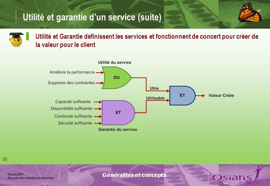 Utilité et garantie d'un service (suite)