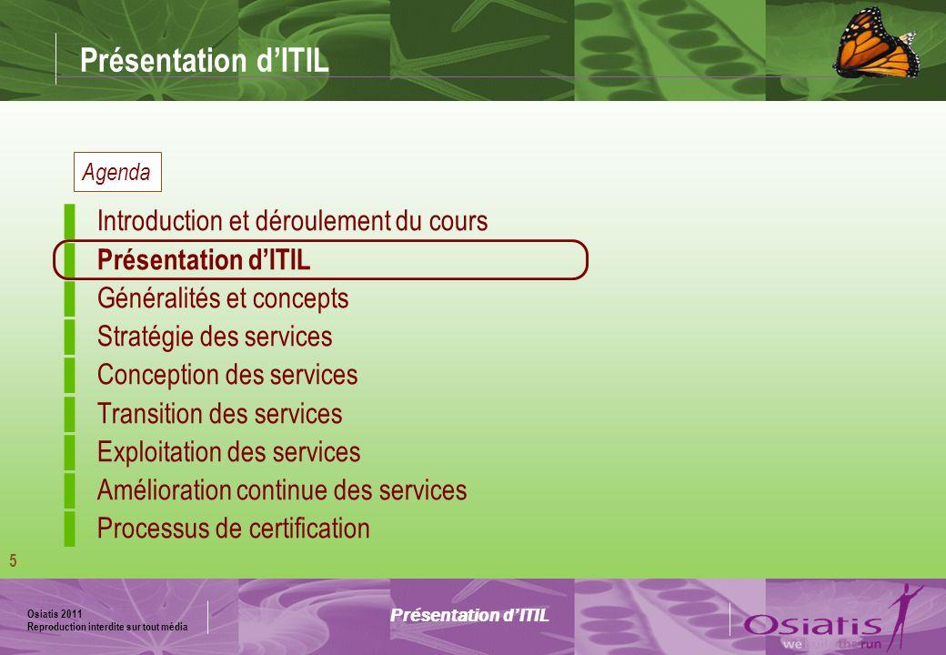Présentation d'ITIL Introduction et déroulement du cours
