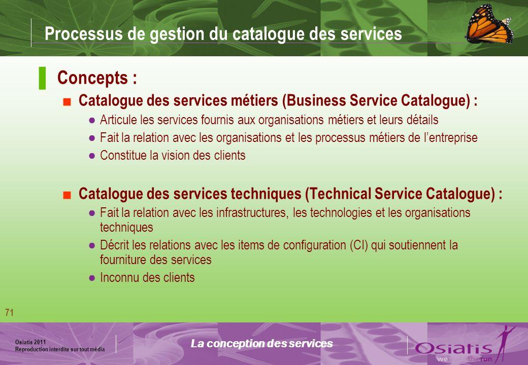 Processus de gestion du catalogue des services