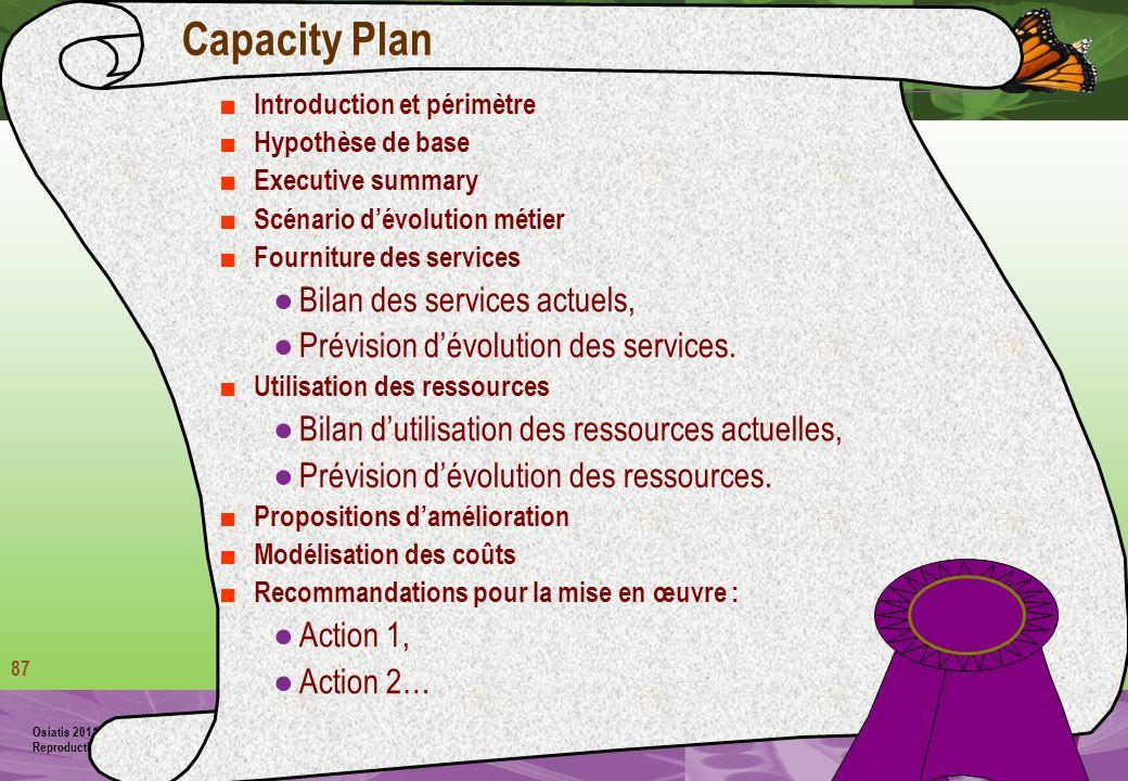 Capacity Plan Bilan des services actuels,