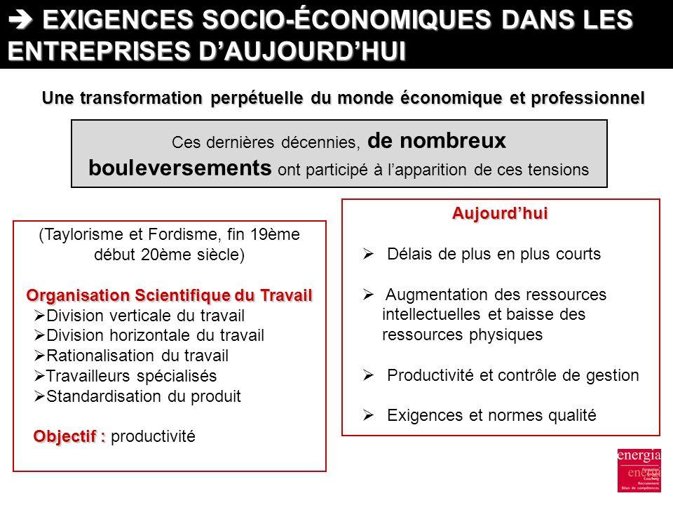  EXIGENCES SOCIO-ÉCONOMIQUES DANS LES ENTREPRISES D'AUJOURD'HUI