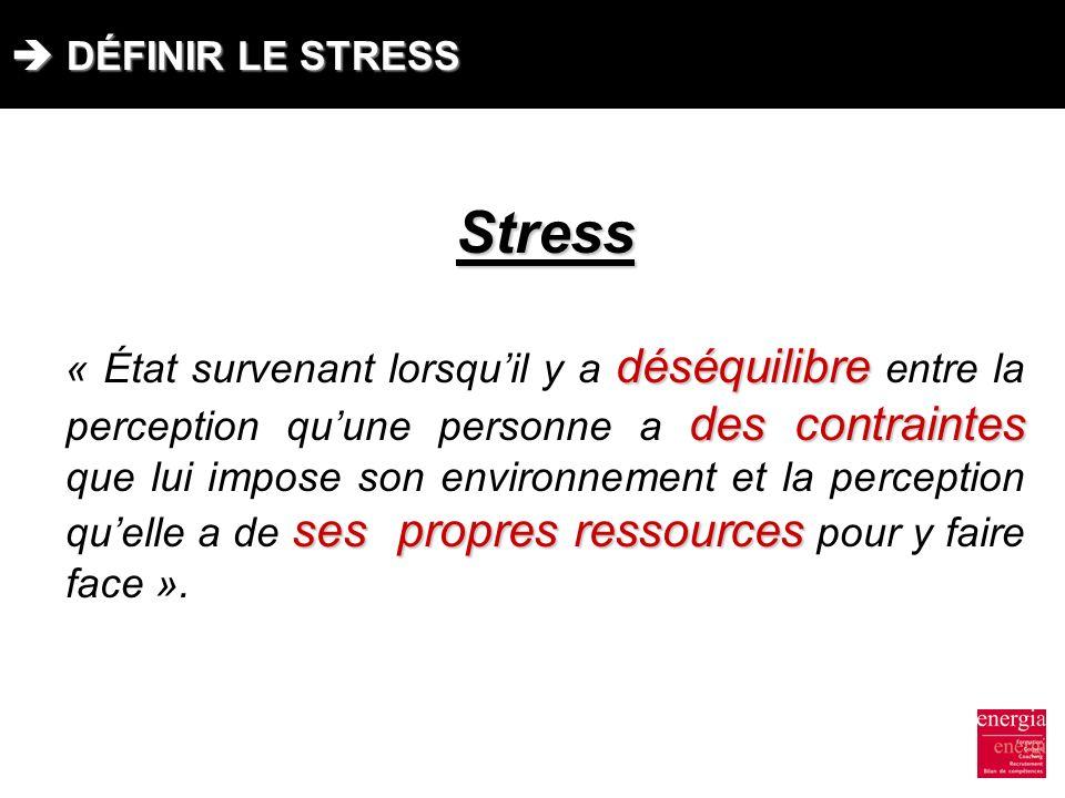 Stress  DÉFINIR LE STRESS