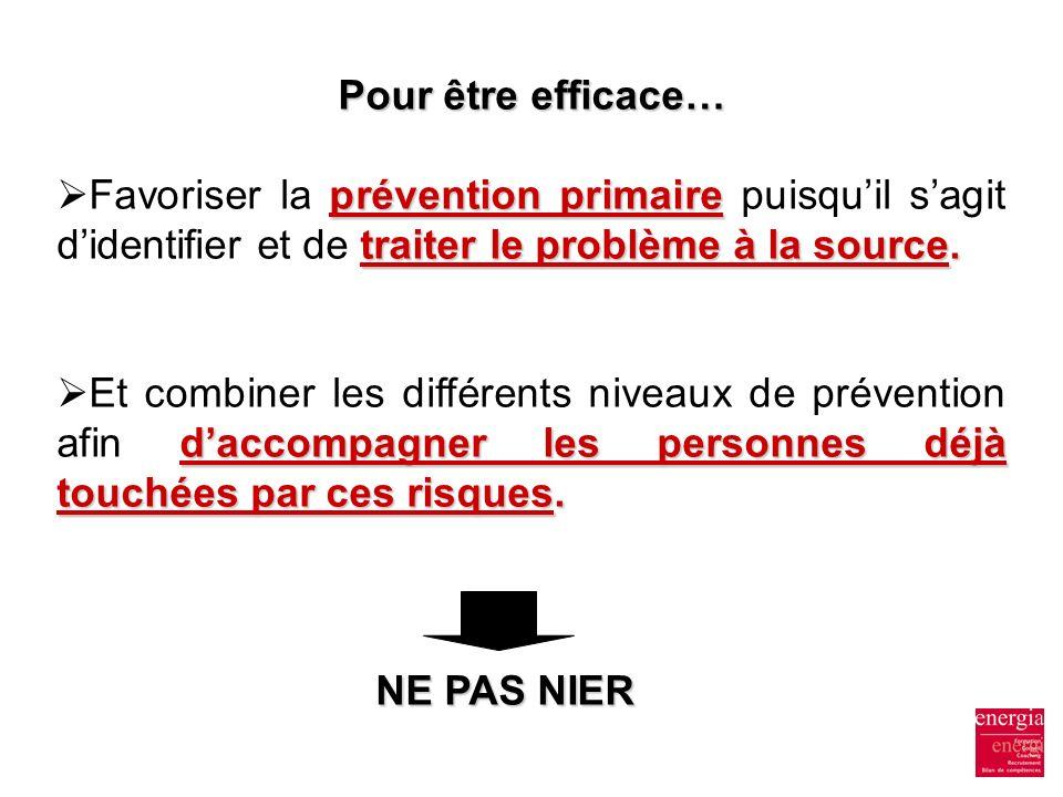 Pour être efficace… Favoriser la prévention primaire puisqu'il s'agit d'identifier et de traiter le problème à la source.