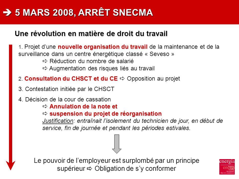  5 MARS 2008, ARRÊT SNECMA Une révolution en matière de droit du travail.