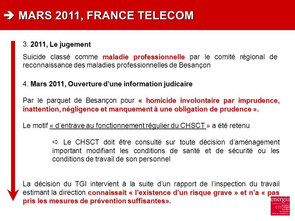  MARS 2011, FRANCE TELECOM 3. 2011, Le jugement