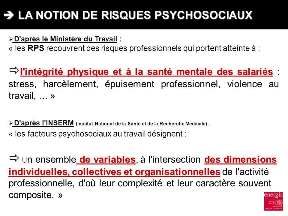  LA NOTION DE RISQUES PSYCHOSOCIAUX
