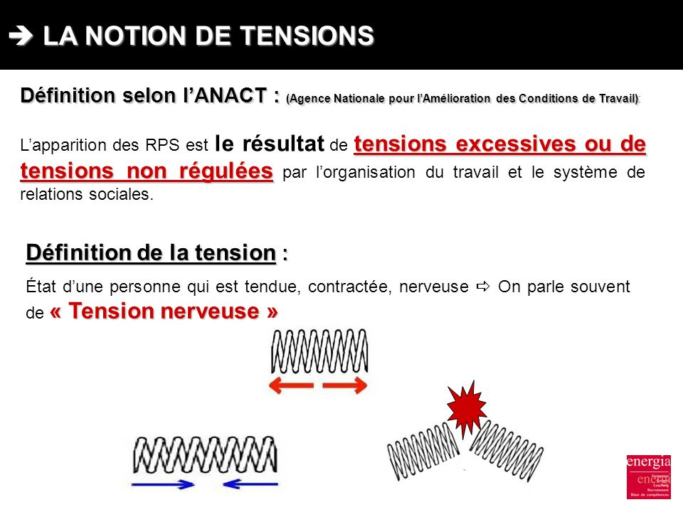  LA NOTION DE TENSIONS Définition de la tension :
