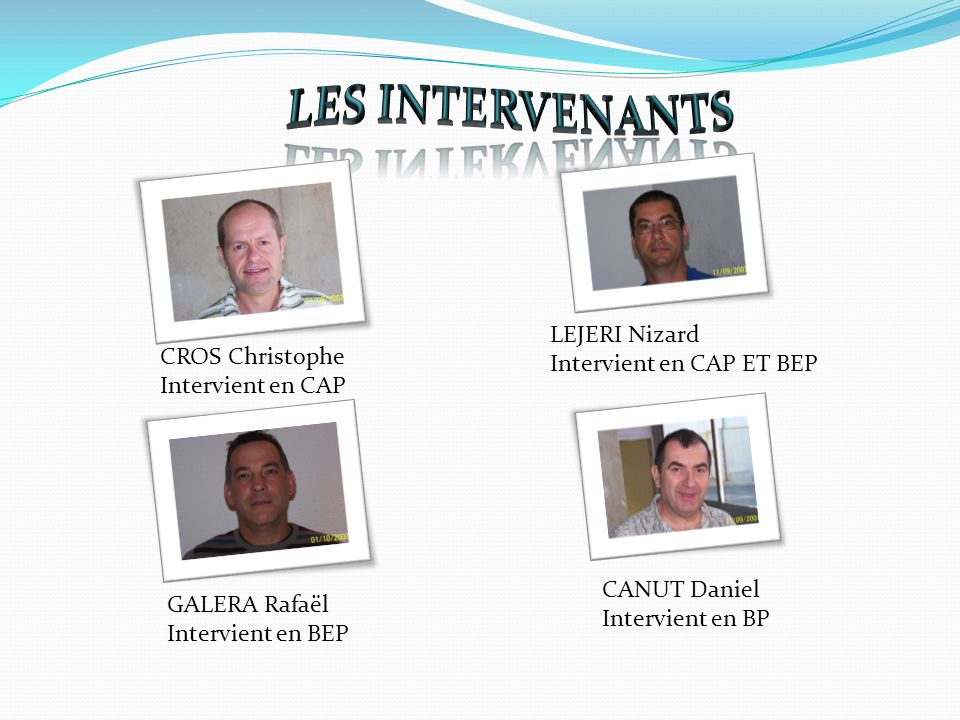 LES INTERVENANTS LEJERI Nizard Intervient en CAP ET BEP
