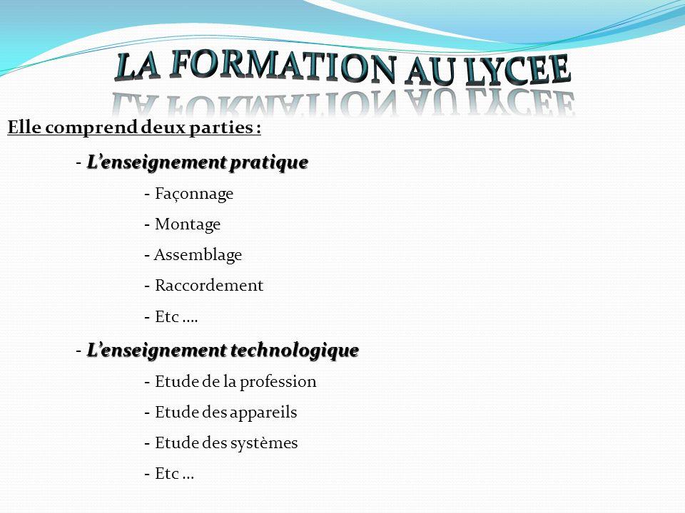 LA FORMATION AU LYCEE Elle comprend deux parties :
