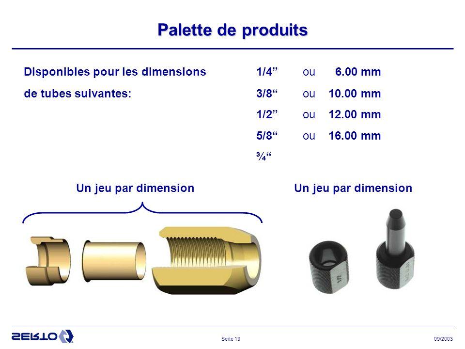 Palette de produits Disponibles pour les dimensions 1/4 ou 6.00 mm