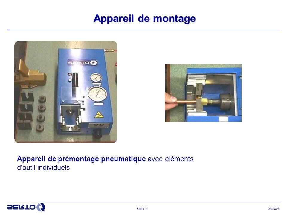 Appareil de montage Appareil de prémontage pneumatique avec éléments d outil individuels 09/2003