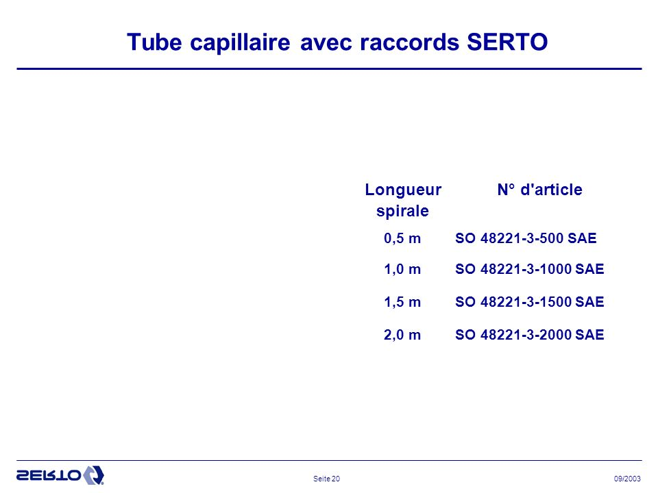 Tube capillaire avec raccords SERTO