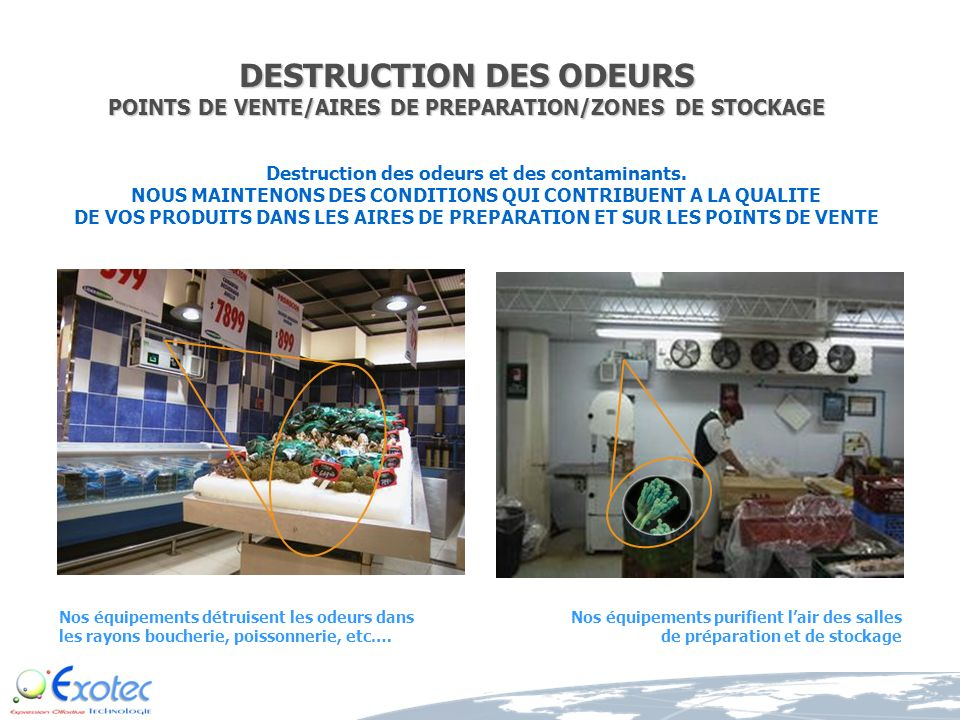 DESTRUCTION DES ODEURS POINTS DE VENTE/AIRES DE PREPARATION/ZONES DE STOCKAGE