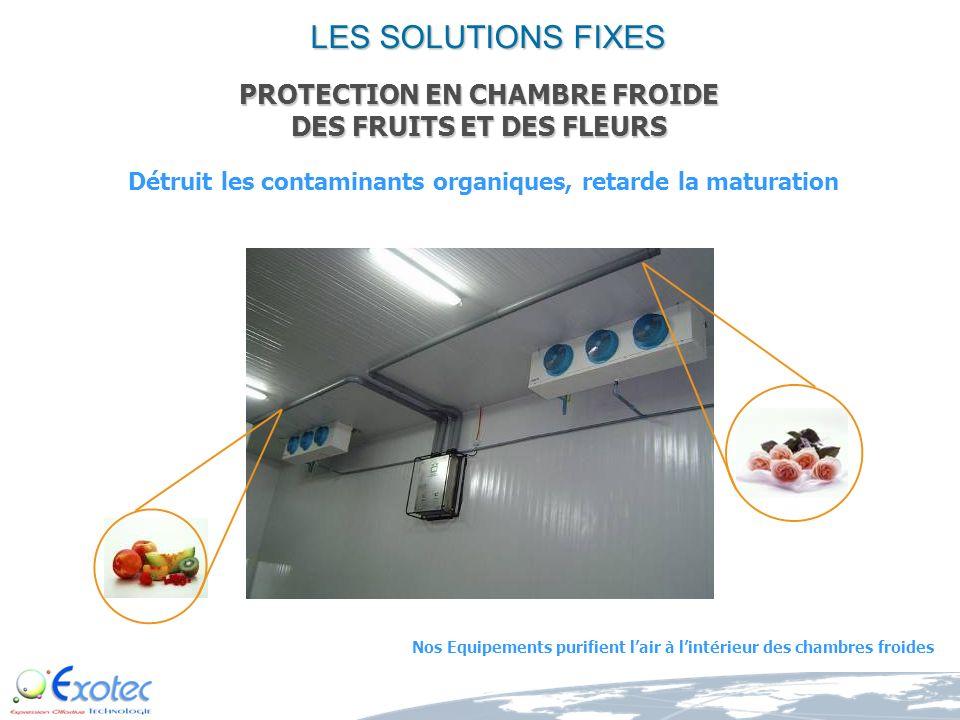 LES SOLUTIONS FIXES PROTECTION EN CHAMBRE FROIDE DES FRUITS ET DES FLEURS. Détruit les contaminants organiques, retarde la maturation.