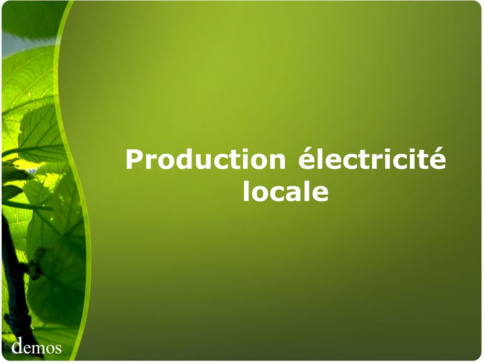 Production électricité locale