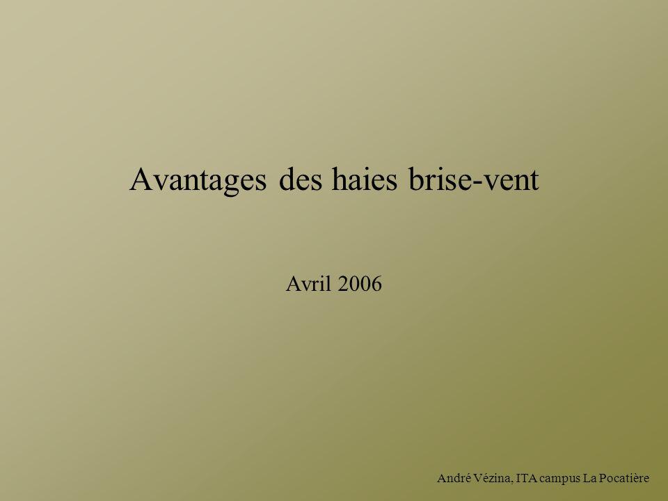 Avantages des haies brise-vent Avril 2006