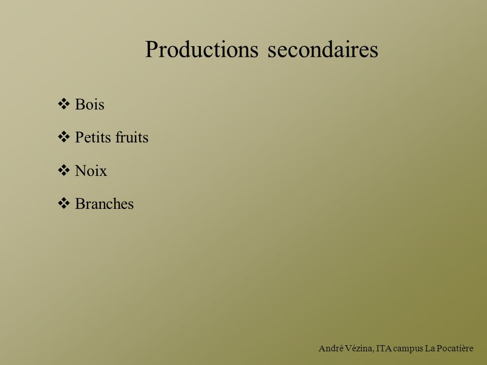 Productions secondaires