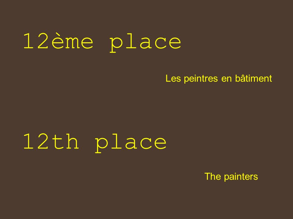 12ème place Les peintres en bâtiment 12th place The painters
