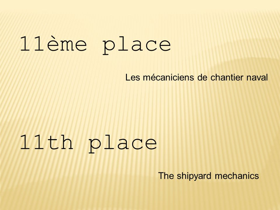 11ème place 11th place Les mécaniciens de chantier naval
