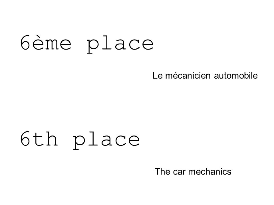 6ème place Le mécanicien automobile 6th place The car mechanics