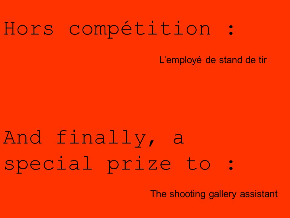 And finally, a special prize to :