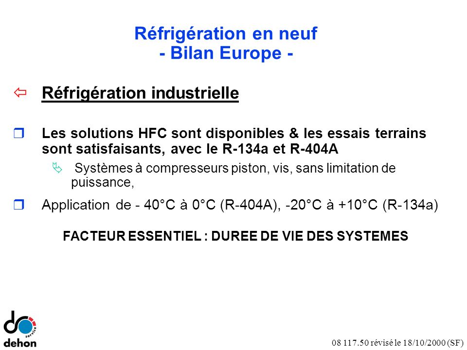 Notes Réfrigération en neuf - Bilan Europe -