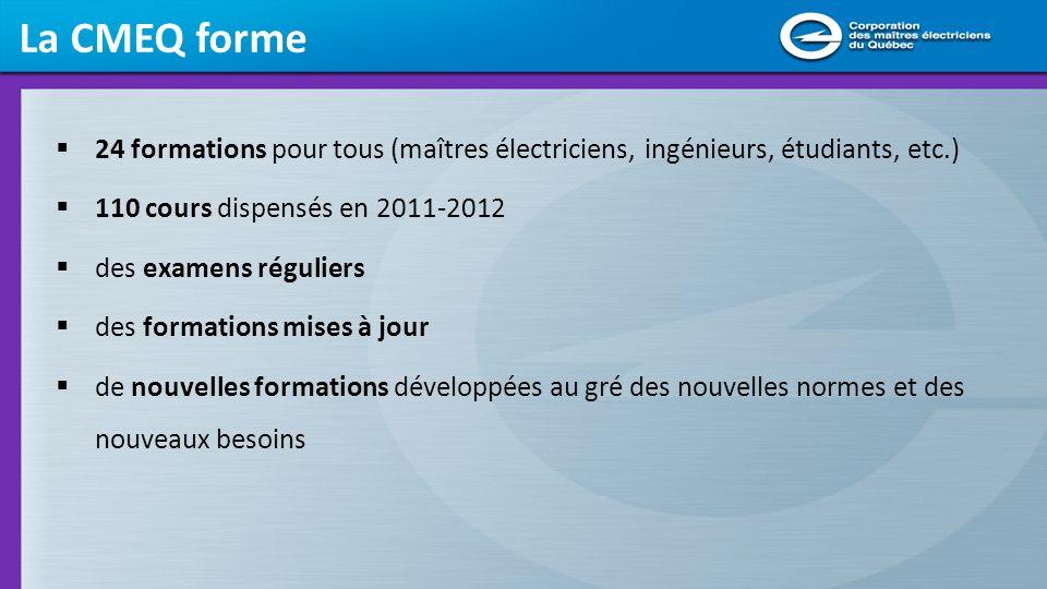 La CMEQ forme 24 formations pour tous (maîtres électriciens, ingénieurs, étudiants, etc.) 110 cours dispensés en 2011-2012.