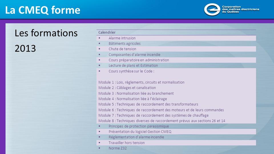 La CMEQ forme Les formations 2013 Calendrier Alarme intrusion