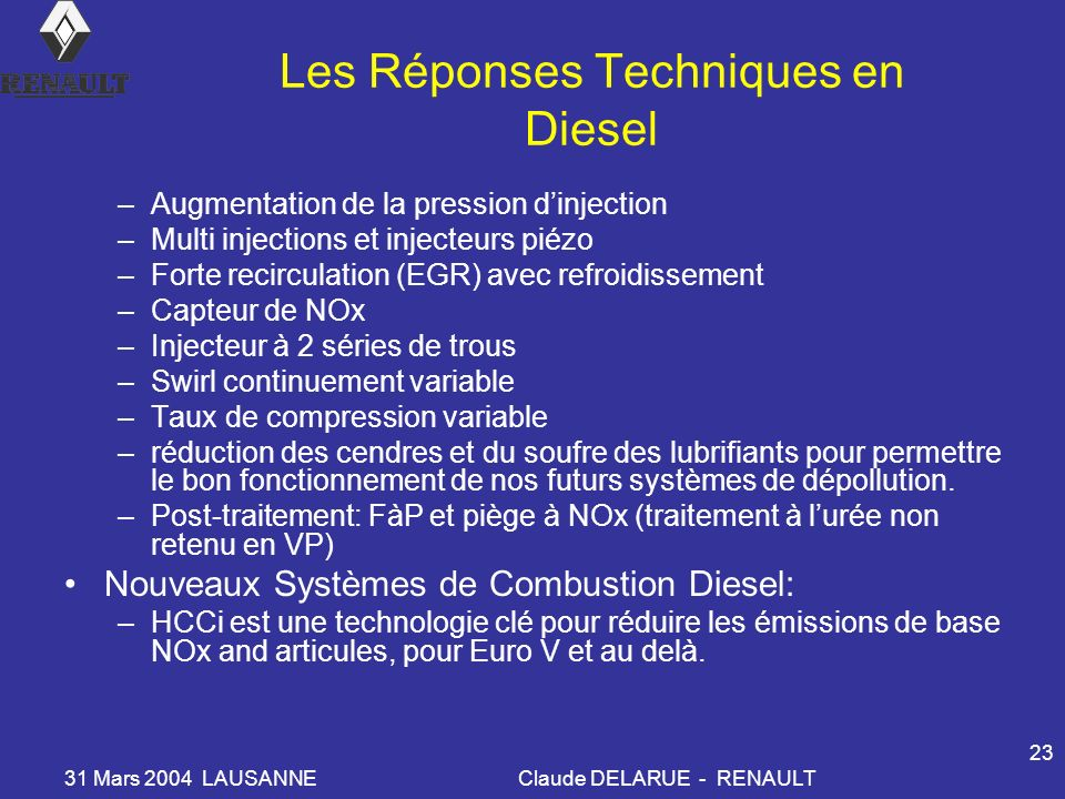 Les Réponses Techniques en Diesel