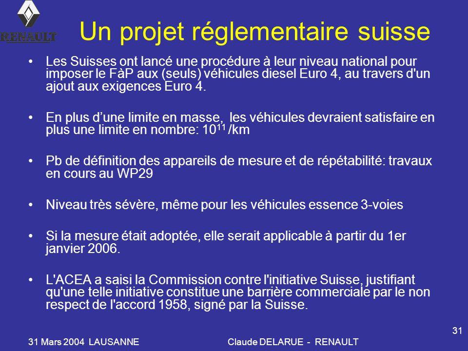 Un projet réglementaire suisse