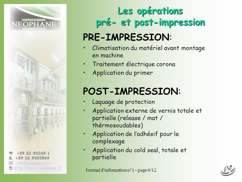 Les opérations pré- et post-impression