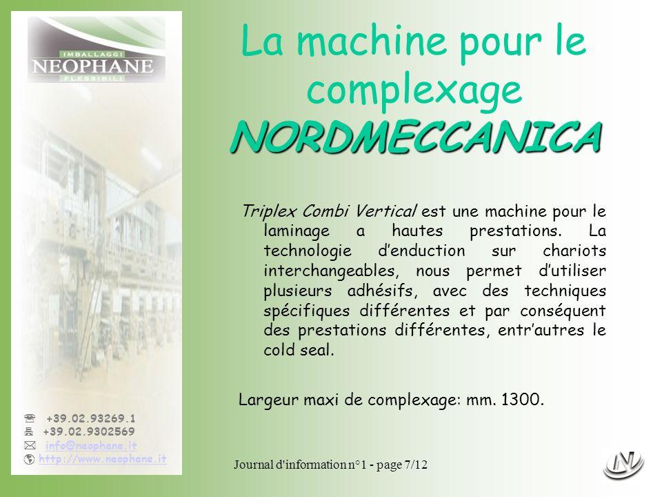 La machine pour le complexage NORDMECCANICA