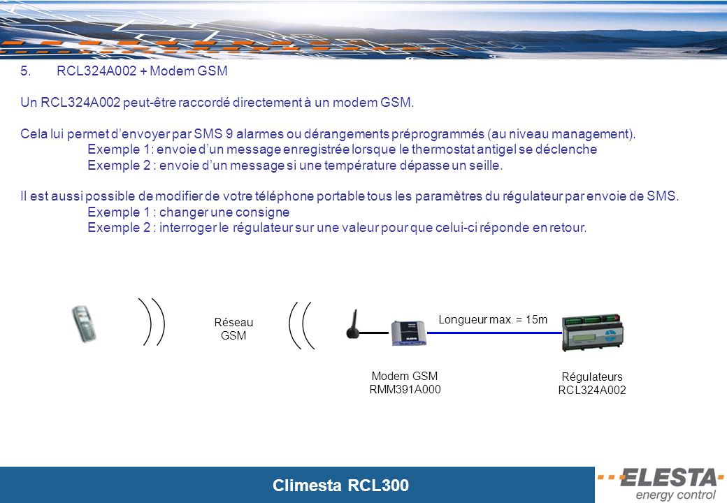 Un RCL324A002 peut-être raccordé directement à un modem GSM.