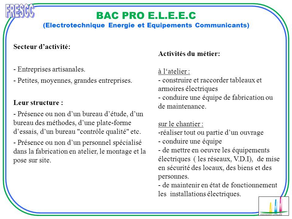 FRESCC BAC PRO E.L.E.E.C (Electrotechnique Energie et Equipements Communicants) Secteur d'activité: