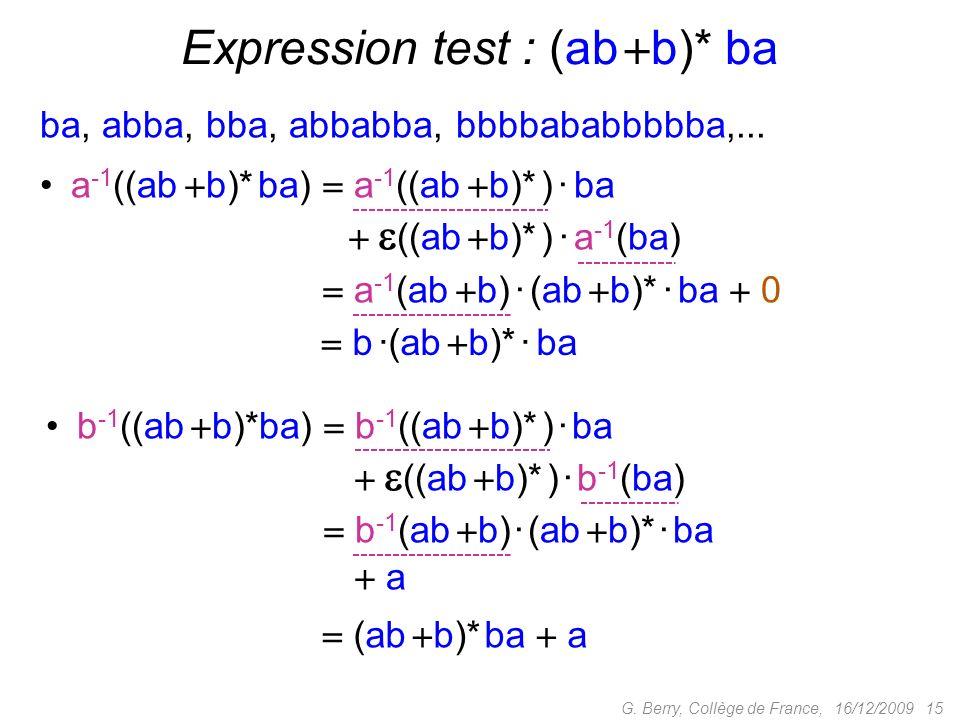 Expression test : (ab b)* ba
