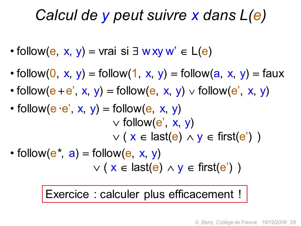 Calcul de y peut suivre x dans L(e)