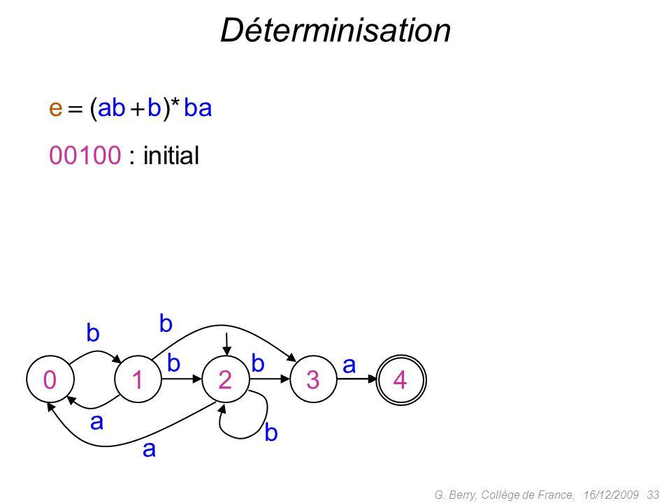 Déterminisation e  (ab  b)* ba 00100 : initial b b b b a 1 2 3 4 a b