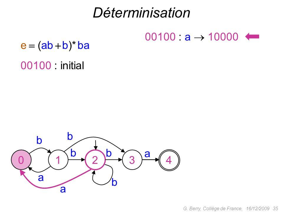 Déterminisation 00100 : a  10000 e  (ab  b)* ba 00100 : initial b b